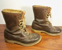 Vintage Sub-Zero Russet Leather Mens Boys Lace Up Sport Hunting Work Chore Cork Sole Soft Toe Boots Size 4 Wide