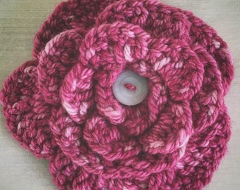 Pink Crocheted Flower Pin, Alpaca Yarn Broach, Hand Dyed