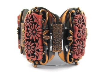 Selro Carved Floral Salmon Thermoplastic Oxydized  Copper Wide Panel  Bracelet