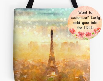 French Market Tote Bag, French Tote, Paris Tote Bag, Eiffel Tower, Purse, Market Bag, French Grocery Bag, Personalized Custom Tote Bag