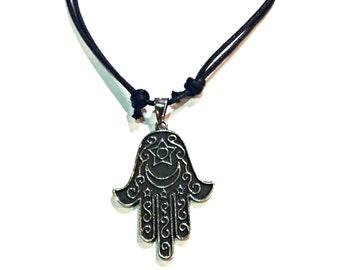 FREE SHIPPING Hamsa Necklace Hand pendant Choker Black necklace Yoga Meditation Enter coupon code FREESHIPPING16 at checkout