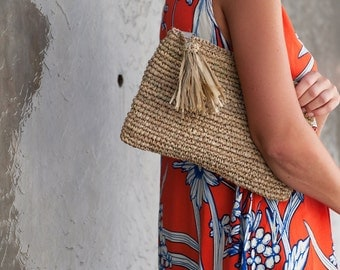 Straw Clutch,Straw Beach Purse, Natural Clutch, Bridesmaid Clutch, Purse Bag, Beach Pouch, Raffia Clutch