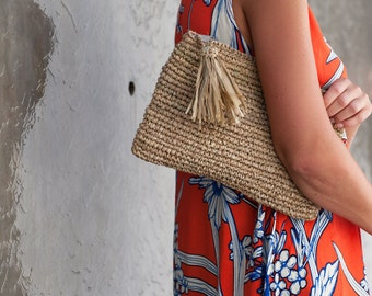 Straw Beach Purse, Natural Clutch, Bridesmaid Clutch, Purse Bag, Beach Pouch, Raffia Clutch
