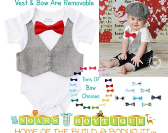 Baby Boy Clothes - Grey Suit Vest and Bow Tie Outfit - Baby Wedding Outfit - Baby Shower Gift - Cake Smash - First Birthday - Baby Suit