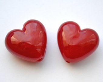 Handmade Lampwork Glass Heart Bead - 'Sangia Heart' SRA - (1 bead only)