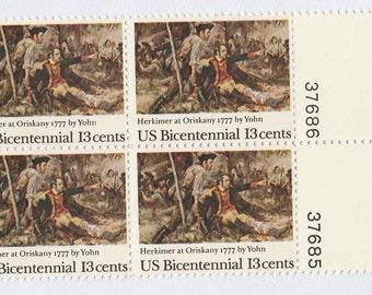 1977 Herkimer at Oriskany 13 cent US Postage Stamps Unused Blocks of 4