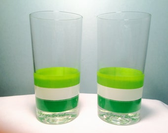 Vintage Georges Briard Green White Striped Glass Tumblers