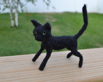 Needle Felted Cat, Black Cat, Felted Collectible