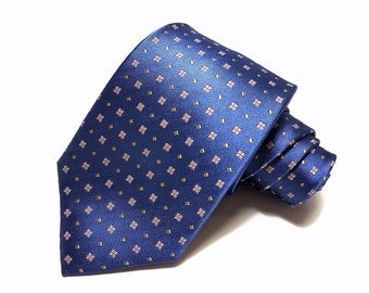Silk Tie in Blue Pink and Yellow
