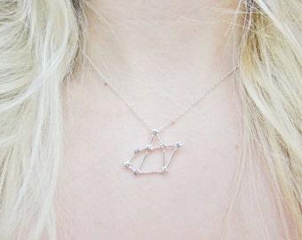 Sagittarius Constellation Star Sign Zodiac Astrology Space Sci Fi Dainty Silver Pendant Necklace Jewellery Jewelry