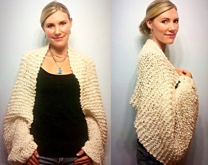 Luscious Chunky White Hand Knit Wrap Bolero Shrug Cardigan Scarf with Oversize Sleeves