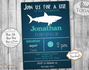 INSTANT DOWNLOAD - Shark Birthday Invitation - Under the Sea Birthday - Shark Invite - Shark Bite Invite - Shark Attack Invitation - 0199