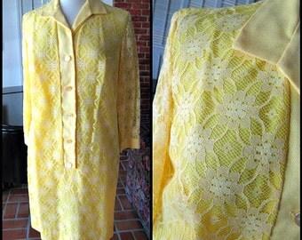 GISELLE Miami Dress / fits M-L / 60s yellow lace dress / Mod 60s lace dress / vintage lace dress / yellow lace dress