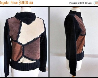 Love Sale 25% off SUEDE Colorblock Sweater // fits S // Vintage 80s 1980s // made in Hong Kong for Rotelli //
