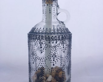 Hand Painted Wine Bottle Tiki Torch (Black)