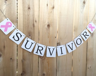 Breast Cancer Survivor Banner, Pink Awareness Ribbon,Anniversary Party, Wedding Engagement Photo Prop Sign