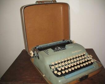 50s Vintage Smith Corona Blue Silent Super Typewriter w/ Case