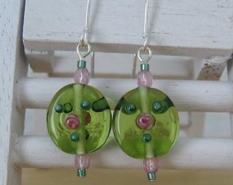 Light Olive Green Lampwork Glass Bead Earrings ,Handmade
