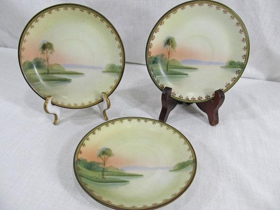 Teacup Saucer x3 Plates Tree Near Lake & Sunset like Noritake China Handpainted Vintage, no mark date unknown Set of Three
