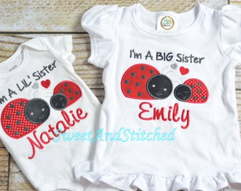 Ladybug Big Sister Shirt Personalized, Ladybug little Sister Shirt Personalized, Personalized and embroidered, big sis lil sis shirts