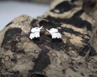 Elephant Earrings, Silver Earrings, Animal Jewellery, Handmade Earrings, Zoo Jewellery, Gifts for Her, Adorable Earrings, Cute Elephants