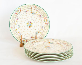 1930s Royal Doulton Harrowby Dinner Plates, Green Rim Scroll Swag, Hand Painted Raised Enamel, English China Pattern V 972, Robert Allen