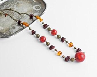 Multicolor necklace / Amber necklace / Coral necklace
