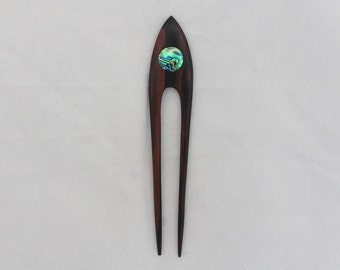 Wood hair fork 2 prong wooden hair sticks with paua shell, wood carving, wooden hair accessories