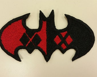 Harley Quinn Inspired Bat Patch, Batman Oval Patch, Iron On Superhero Comic Book Embroidered Patches, Fanwear Patches