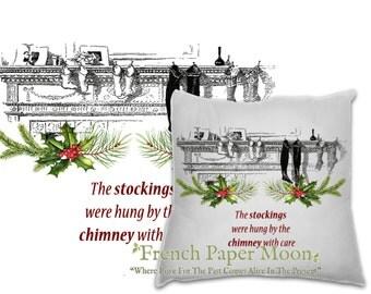 Digital Christmas Stockings on Mantle, Vintage Christmas Pillow Image, Christmas Stocking Fabric Transfer