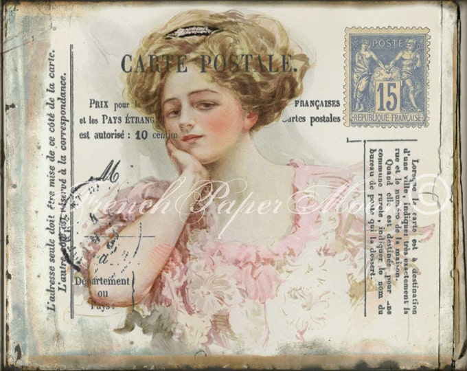 Vintage French Postcard Digital , Victorian Lady in Pink, Postal Markings, French Pillow Graphic Transfer Image