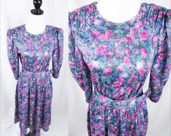 Womens Vintage Dress, Floral Dress, Retro Dress, Womens Unique Dresses, Vintage Dress, Womens Dress, Unique Dress, Casual Dress, Pink Dress