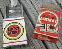 Vintage Lucky Strike portable  cigarette ashtray- made in Hong Kong