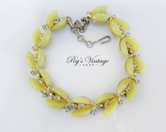 Yellow Moonglow Lucite Bracelet, Lisner Designer Jewelry, Vintage Thermoset Rhinestone Jewelry, Gift for Her