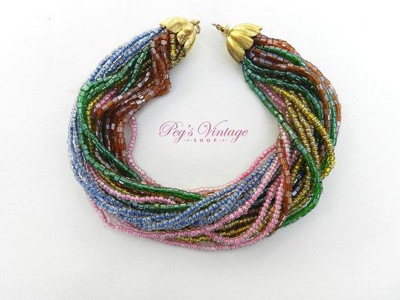 multi strand glass seed bead bracelet torsade multi color