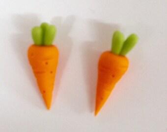 Carrots - 2 carrot earrings - two ct studs - veggie studs -  vegan studs - polymer clay stud earrings -  food jewellery - vegan