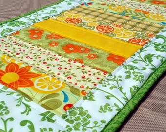 Modern Floral Table Runner, quilted fruit and flowers runner, reversible spring table décor, yellow and green summer table mat
