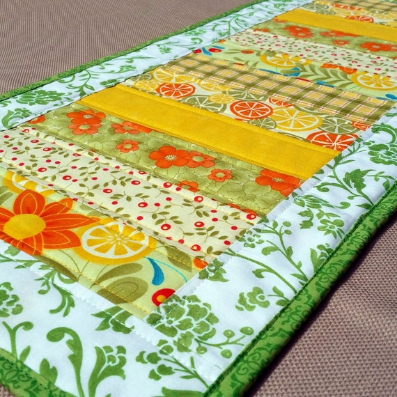 Modern Floral Table Runner Quilted Fruit And Flowers Runner