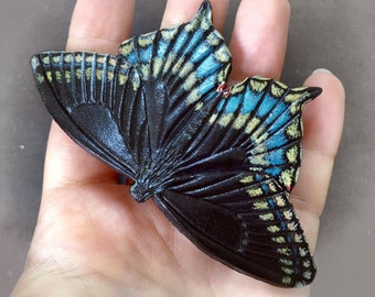 Black swallowtail butterfly hair barrette or brooch - Hand tooled leather hair barrette - original gift