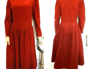 1980's vintage Laura Ashley rust brick red needlecord corduroy modesty dress M