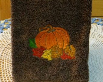 Pumpkin and Leaves Terry Hand Towel Fall Towel Autumn Towel - Dark Brown