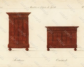 Original Antique Hand Colored Engraving   Furniture from Collection de Meubles et Objets de Goût by Pierre de La Mésangère (1761-1831)