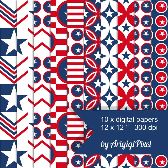 scrapbooking digital papers - red white blue - stars and stripes - patriotic pack