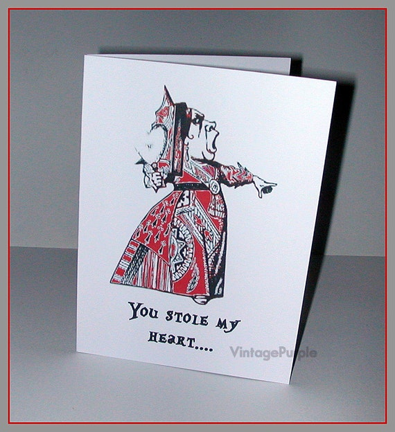 Alice in Wonderland Queen of Hearts Valentine Card