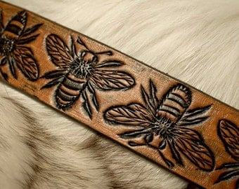 Bumble Bee Leather Cuff Bracelet