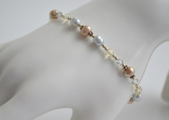Champagne Silver Grey Bracelet with Swarovski Crystals Citrine Freshwater Pearls Bali Silver Sterling Silver Gold Filled Beads