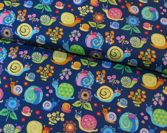 Timeless Treasures Snails and Flowers on Blue cotton woven fabric - UK seller