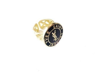 Gold and Black YSL Repurposed Button Ring