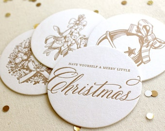 Letterpress Coasters - Vintage Christmas Variety Pack, Gold,  Ready to Ship!