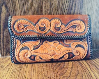 Leather Hand Tooled Wallet Light Brown Leather Wallet